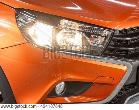 Novosibirsk, Russia - July  16, 2021: Lada Vesta , Exterior Detail. Close Up Detail On One Of The Le