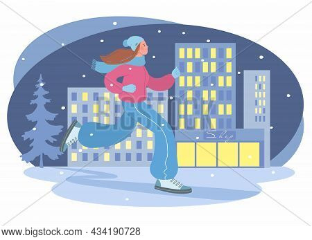 Beautiful Girl Is Engaged In Sports In The Winter Season. Illustration Of A Girl Jogging In The Even