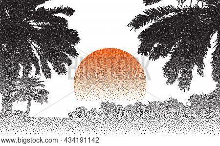 Stipple Retro Palms Sunset. Palm Tree Beach Vector Background. Dotwork Nature Landscape. Vector Illu