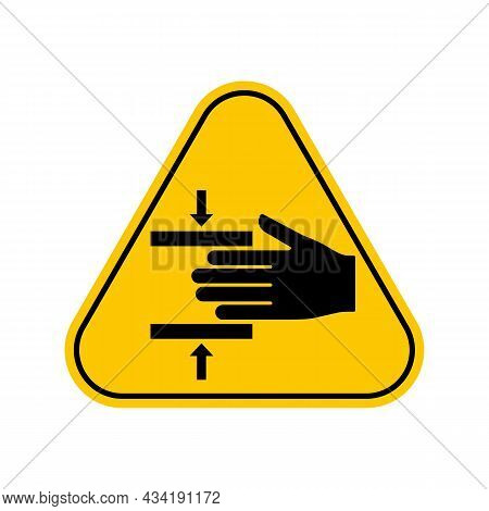 Crushing Hazard Symbol. Hand Crush Force From Above Symbol Sign , Yellow Triangle Caution Symbol, Is