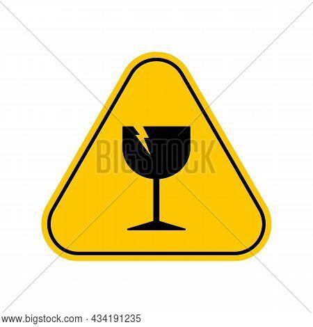 Glass Hazard Warning Sign. An Illustration Of Broken Glass Warning Symbol, Yellow Triangle Caution S