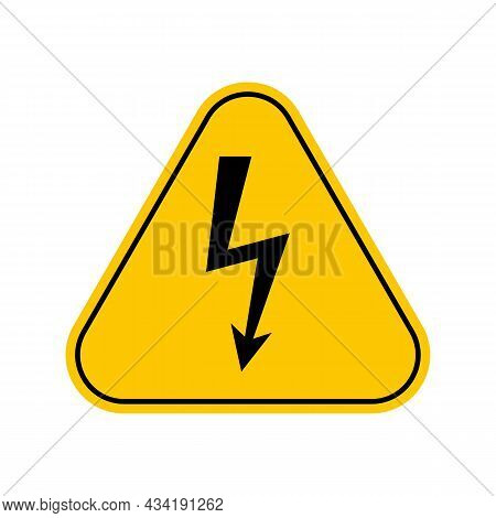 Danger Electricity Warning Symbol. Dont Touch Sign, Yellow Triangle Caution Symbol, Isolated On Whit