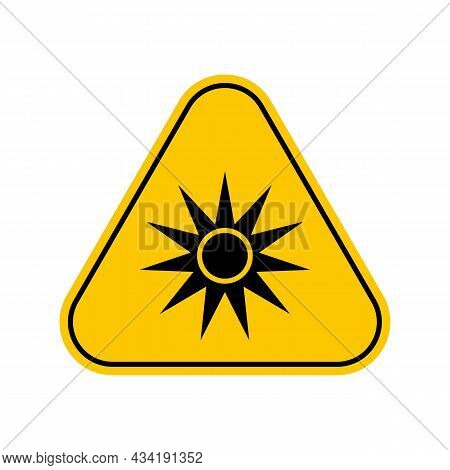 Optical Radiation Hazard Symbol , Warning Sign, Caution Sticker, Label, Artificial Light Beam Icon S