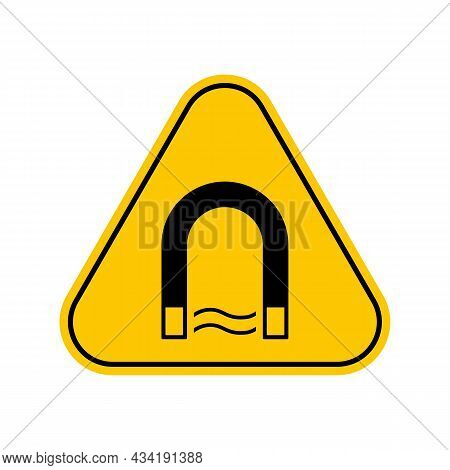 Strong Magnetic Field Warning Sign, Yellow Triangle Caution Symbol, Isolated On White Background, Ve