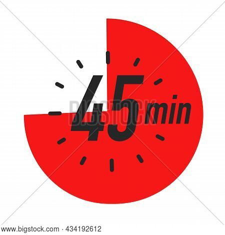 45 Minutes Timer Symbol Red Color Style Isolated On White Background. Clock, Stopwatch, Cooking Time