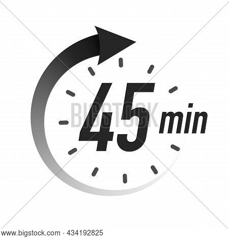 45 Timer Minutes Symbol Black Style With Arrow Isolated On White Background. Clock, Stopwatch, Cooki