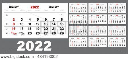 The Template Of The Monthly Calendar For 2022. The Week Starts On Sunday. Wall Calendar In A Minimal