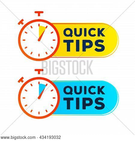 Quick Tips Label Timer Vector Set Modern Style For Tooltip Badge, Solution And Advice Banner, Helpfu