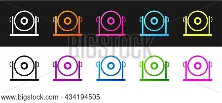 Set Gong Musical Percussion Instrument Circular Metal Disc Icon Isolated On Black And White Backgrou