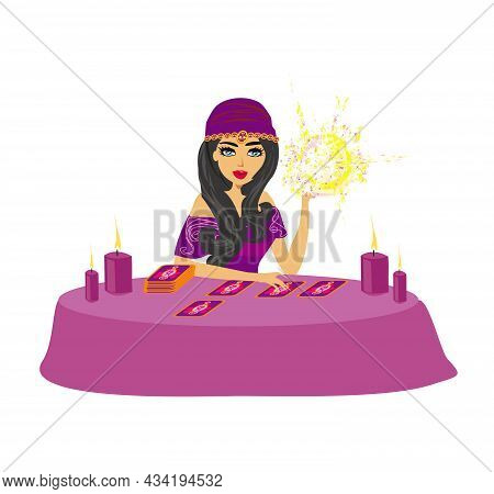 Fortune Teller Woman Reads The Future From The Crystal Ball, Vector Illustration