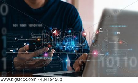 Cybersecurity And Privacy Concepts To Protect Data. Lock Icon And Internet Network Security Technolo