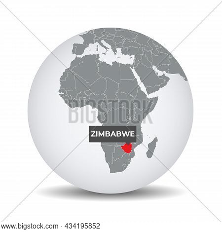 World Globe Map With The Identication Of Zimbabwe. Map Of Zimbabwe. Zimbabwe On Grey Political 3d Gl