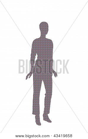 Fashion Dummy Silhouette (red Blue Gray Nebula Pattern Shadow Isolated In White Background)