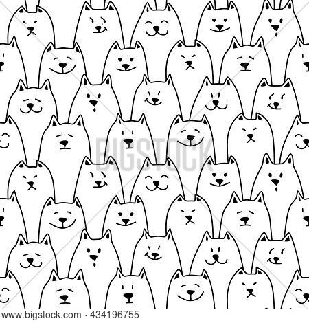 Seamless Pattern With Cats. Black And White Line Drawing. Kittens With Different Emotions - Funny, G