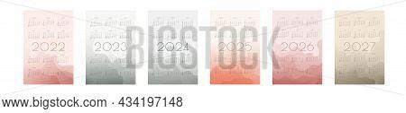2022 2023 2024 2025 2026 2027 Calendar With Multicilor Translucent Gradient Fluid Wave Shapes. Set O