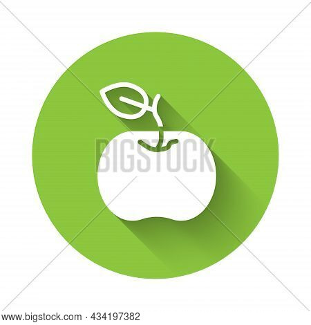 White Apple Icon Isolated With Long Shadow. Excess Weight. Healthy Diet Menu. Fitness Diet Apple. Gr