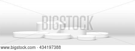Cylinder Podium White For Make-up Product Display, Podium Stage Showcase For Advertising Cosmetics B