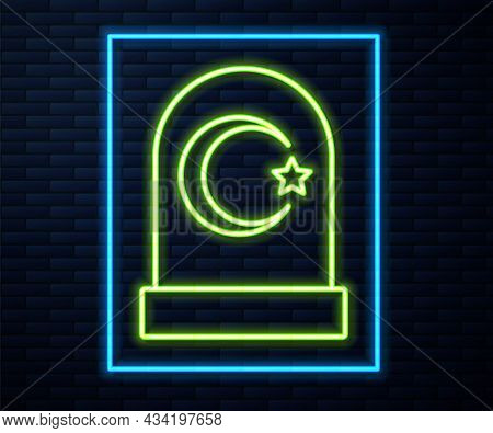 Glowing Neon Line Muslim Cemetery Icon Isolated On Brick Wall Background. Islamic Gravestone. Vector