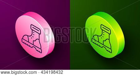 Isometric Line Waterproof Rubber Boot Icon Isolated On Purple And Green Background. Gumboots For Rai
