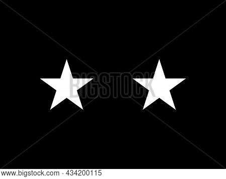 The Flag Of A Usa Space Force Major General Of A Pair Of White Stars Set Over A Black Background