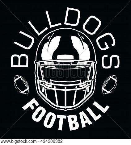 Bulldogs Football One Color - White Is A Team Design Template That Includes Text, Two Footballs And