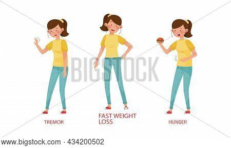 Diabetes Symptoms Set. Tremor, Fast Weight Loss, Hunger Vector Illustration