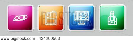 Set Line Car Headlight, Canister For Motor Machine Oil, Diagnostics Condition Of Car And Mechanic. C