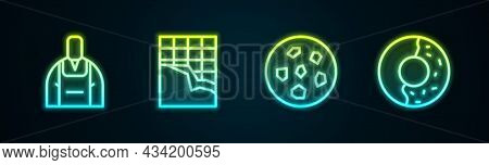 Set Line Barista, Chocolate Bar, Cookie Or Biscuit And Donut With Sweet Glaze. Glowing Neon Icon. Ve