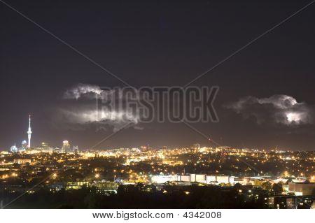 Lightening Over Auckland City