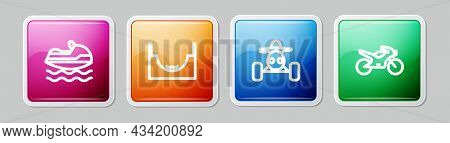 Set Line Jet Ski, Skate Park, Atv Motorcycle And Motorcycle. Colorful Square Button. Vector