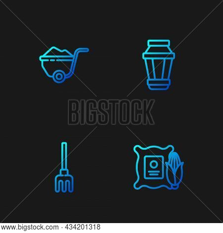 Set Line Corn In The Sack, Garden Rake, Wheelbarrow With Dirt And Light Lamp. Gradient Color Icons.
