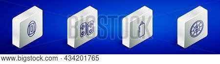 Set Isometric Line American Football Ball, Gamepad, Punching Bag And Casino Chips Icon. Vector