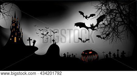 Halloween Party Banner, Spooky Dark Background, Silhouettes Of Characters And Scary Bats With Gothic