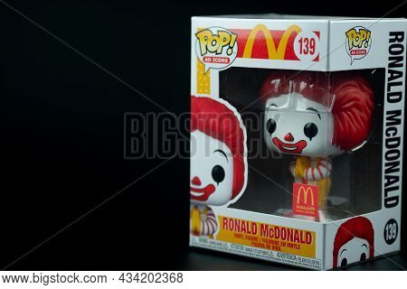 Bangkok, Thailand - September 27, 2021 : A Box Figure Model Of Funko Pop! Mcdonald Thailand Exclusiv