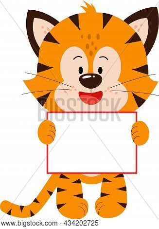 A Cute Little Tiger Cub Is Standing With A Postcard.