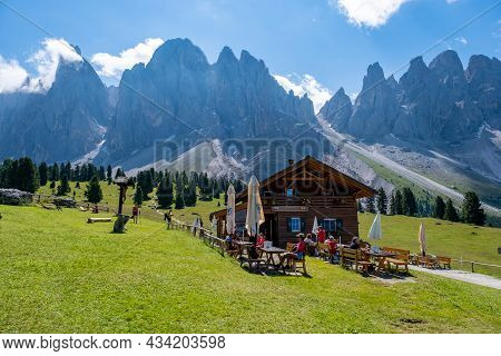 Geisler Alm, Dolomites Italy July 2021, Hiking In The Mountains Of Val Di Funes In Italian Dolomites