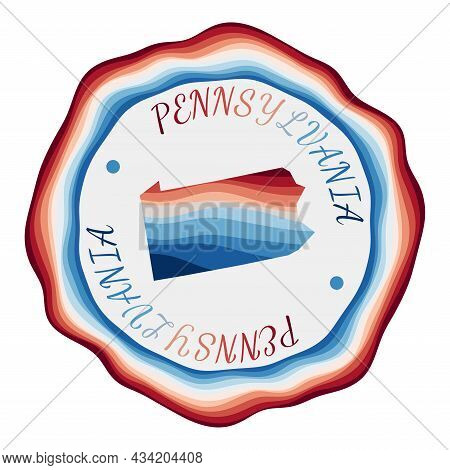 Pennsylvania Badge. Map Of The Us State With Beautiful Geometric Waves And Vibrant Red Blue Frame. V