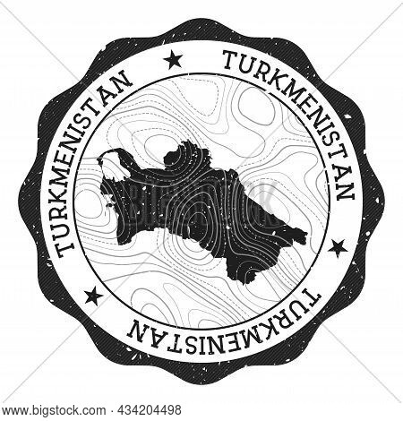 Turkmenistan Outdoor Stamp. Round Sticker With Map Of Country With Topographic Isolines. Vector Illu