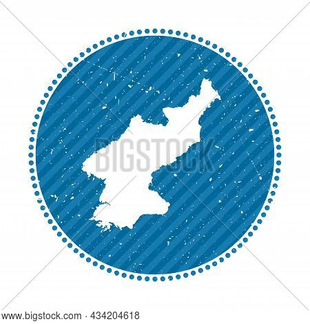 North Korea Striped Retro Travel Sticker. Badge With Map Of Country, Vector Illustration. Can Be Use