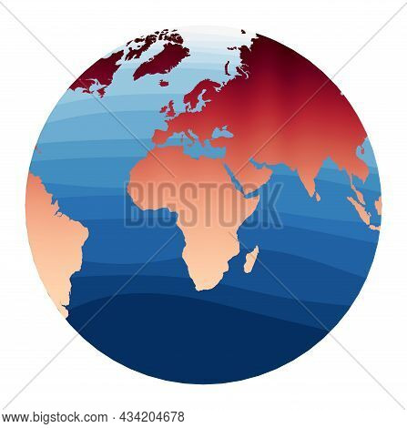 World Map Vector. Chamberlin Projection For Africa Projection. World In Red Orange Gradient On Deep