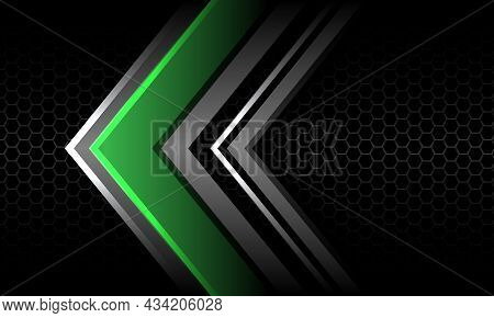 Abstract Green Silver Arrow Direction On Grey Hexagon Mesh Black Design Modern Luxury Futuristic Tec