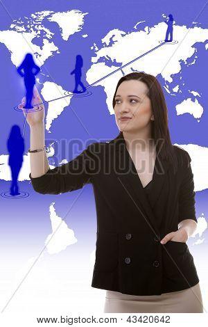 Cauasian Businesswoman Touching A Vitual Silluette