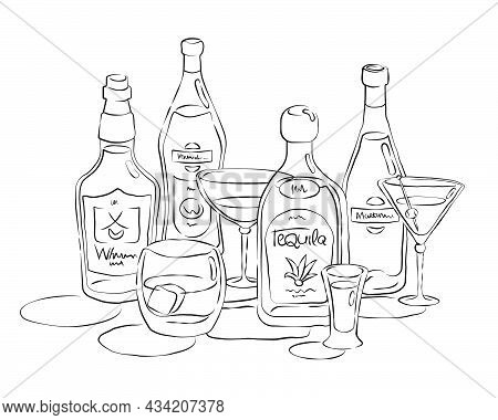 Bottle And Glass Whiskey Vermouth Tequila Martini Together In Hand Drawn Style. Beverage Outline Ico