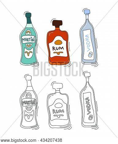 Martini, Rum, Vodka Bottle On White Background. Two Kinds Beverage. Cartoon Sketch. Doodle Style Wit