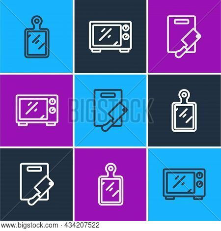 Set Line Cutting Board, And Meat Chopper And Microwave Oven Icon. Vector