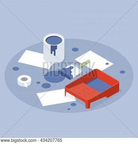 Art Painting Tools Vector Isometric Illustration. Interior Repair Paint, Paper Sheet, Bucket, Brush