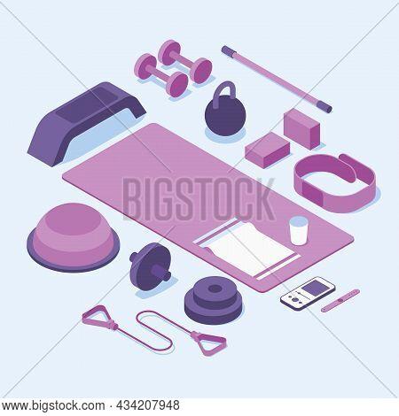 Isometric Gym Fitness Sport Vector Illustration. Equipment For Intensive Cardio Training, Balancing,
