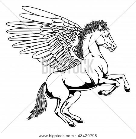 Pegasus horse with wings rearing on its back legs in black and white outline poster