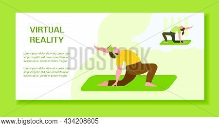 Vector Illustration Woman Wearing Virtual Reality 3d Glasses Doing Yoga With Virtual Instructor Vr H