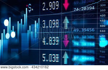 Financial Chart And Rising Graph With Lines And Numbers And Bar Diagrams That Illustrate Stock Marke